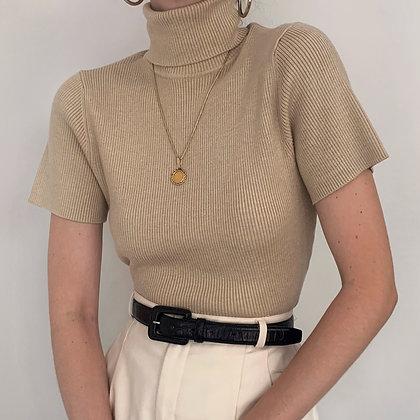Vintage Oat Knit Turtleneck Top