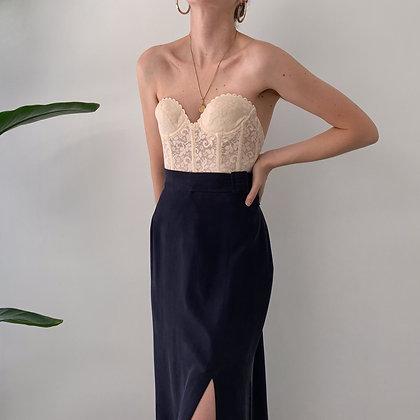 Vintage Navy Silk Belted Midi Skirt (26-29.5W)