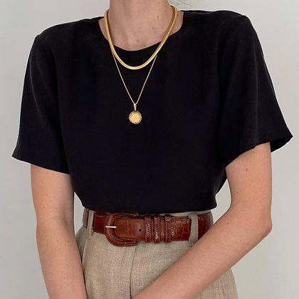 Deadstock Vintage Saks Onyx Silk Shirt