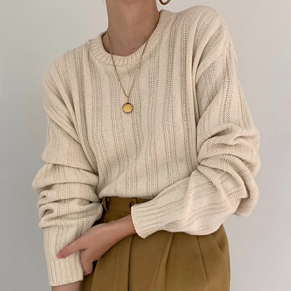 Vintage Cream Knit Pullover Sweater