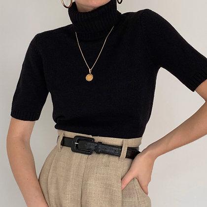 Vintage Black Wool Knit Turtleneck Shirt