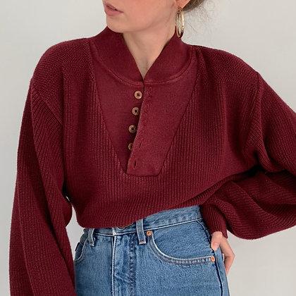 Favorite Vintage Maroon Henley Sweater