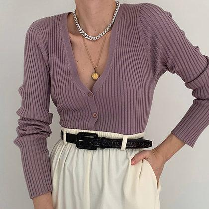 Vintage Lavender Ribbed Knit Cardigan