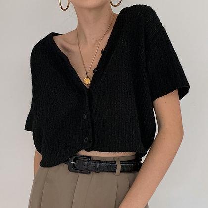 Vintage Black Silk Angora Crop Knit