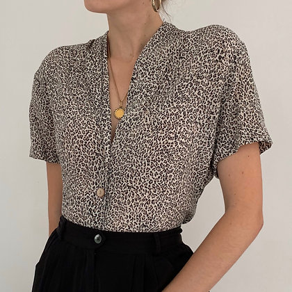 Vintage Leopard Print Silk Blouse