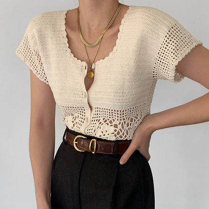 Vintage Ivory Crochet Knit Buttoned Top