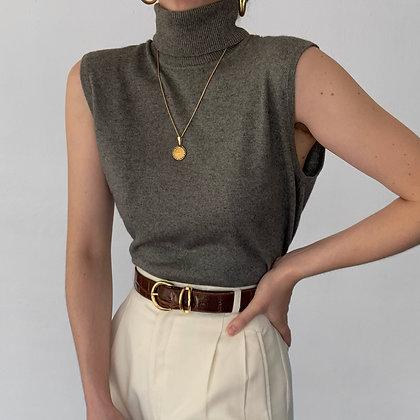 Vintage Charcoal Silk Cashmere Knit Turtleneck