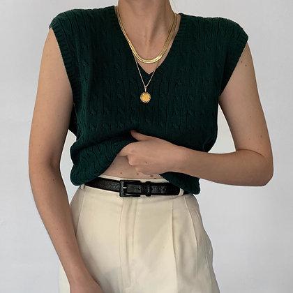 Vintage Oscar de la Renta Pine Cable Knit Vest