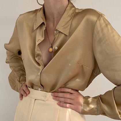 Vintage Golden Liquid Silk Button Up Blouse