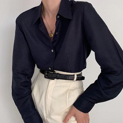 Vintage Midnight Silk Button Up Blouse