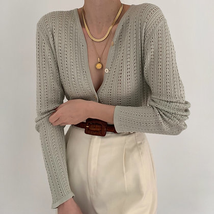 Vintage Sage Silk Pointelle Knit Cardigan
