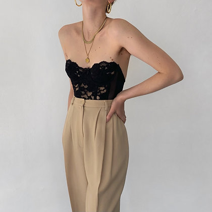 Vintage Latte Wool High-Waisted Trousers (25W)