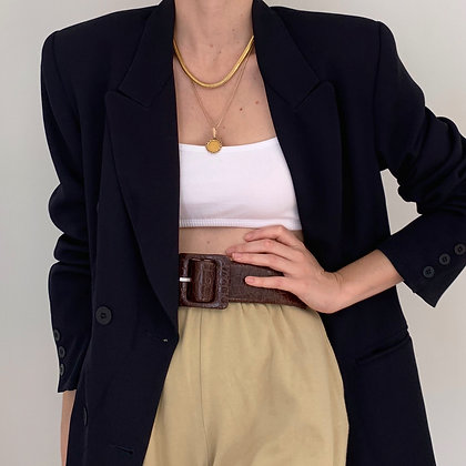 Vintage Navy Double-Breasted Blazer