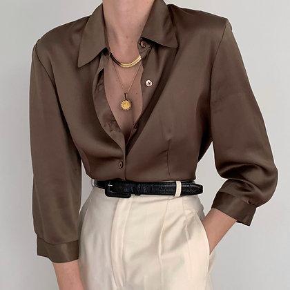 Vintage Mocha Charmeuse Silk Blouse