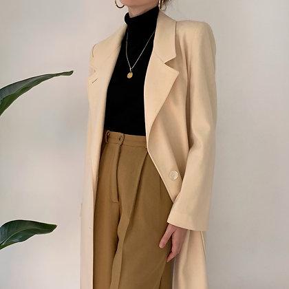 Vintage Ivory Wool Overcoat