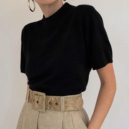Essential Vintage Black Mock Neck Shirt