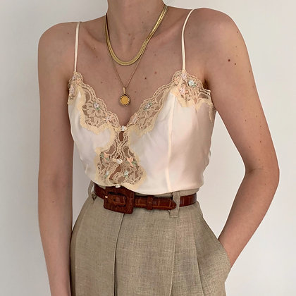 Vintage VS Ivory Buttoned Silk Camisole