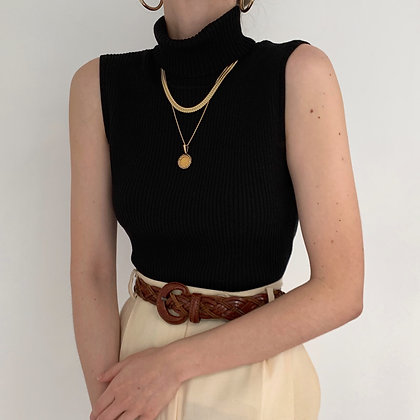 Vintage Onyx Ribbed Knit Sleeveless Turtleneck
