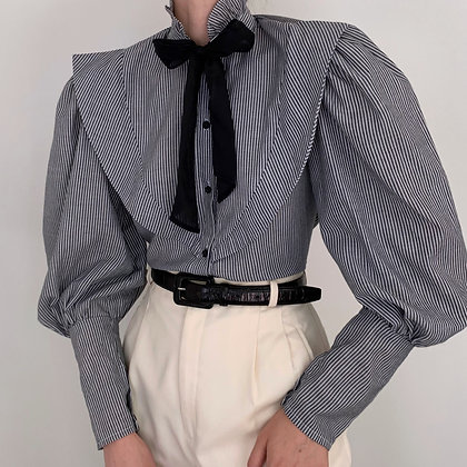 Vintage Striped Mutton Sleeve Blouse