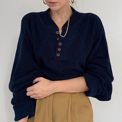 Vintage Navy Knit Henley Sweater
