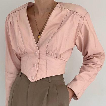 Rare Vintage Pink Cropped Leather Jacket