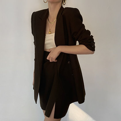 Vintage Espresso Wool Skirt Suit