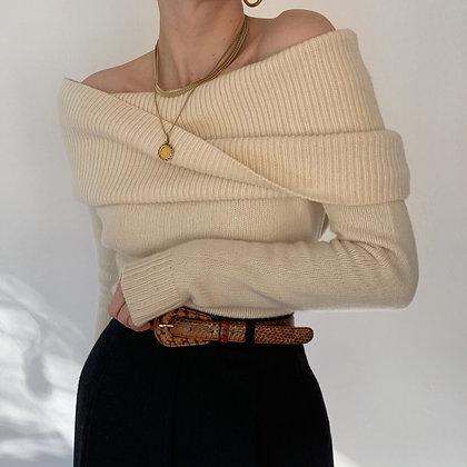 Vintage Ralph Lauren Ivory Shawl Sweater