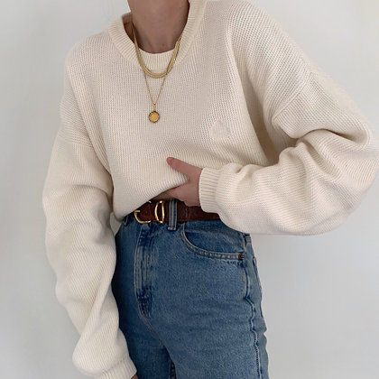 Vintage Izod Cream Waffle Knit Sweater
