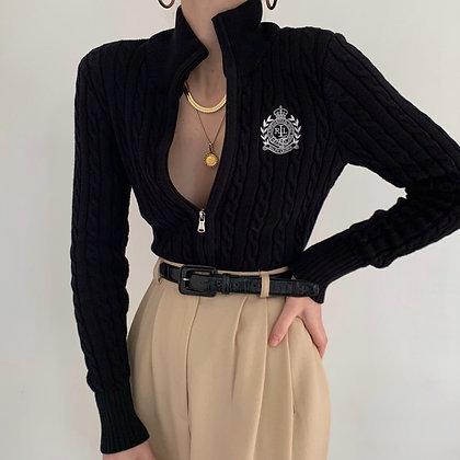 Vintage Ralph Lauren Noir Cable Knit Jacket