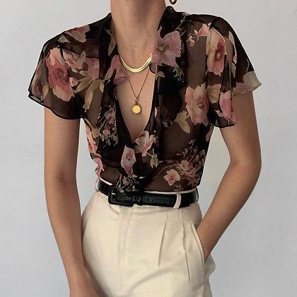 Vintage Ralph Lauren Silk Floral Ruffle Blouse