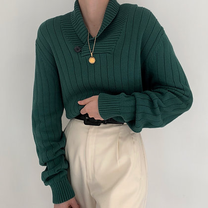 Vintage Pine Shawl Collar Ribbed Knit Sweater