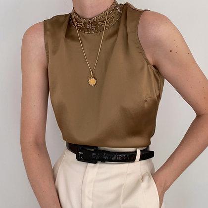 Vintage Bronze Silk Beaded Collar Blouse