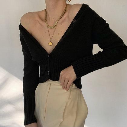 Vintage Noir Cropped Knit Cardigan
