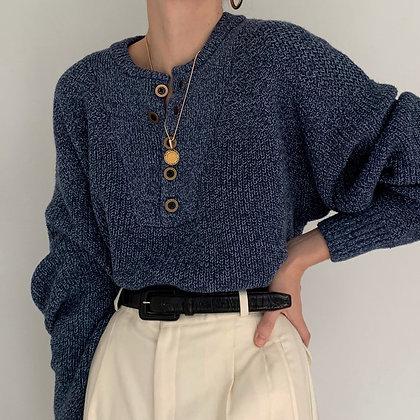 Vintage Steel Blue Melange Knit Henley