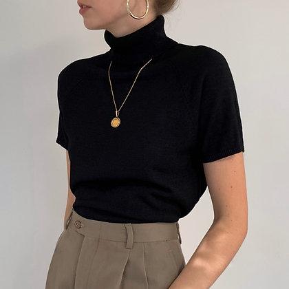 Vintage Black Silk Turtleneck Top