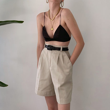 Vintage Khaki Pleated Shorts (25W)