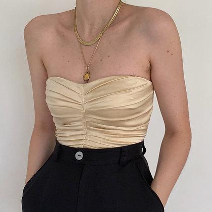Vintage Golden Silk Ruched Bustier Top