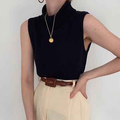 Vintage Noir Knit Sleeveless Turtleneck