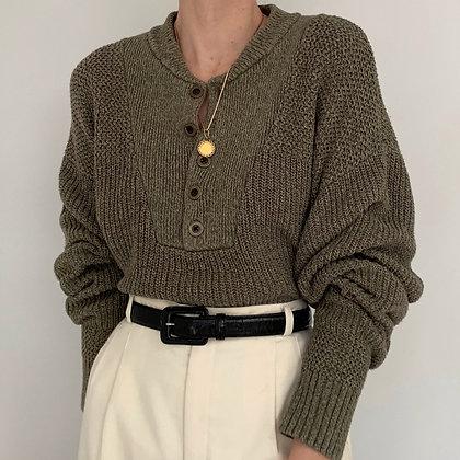 Vintage Mossy Green Knit Henley Sweater