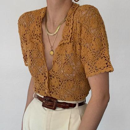 Vintage Sherbet Floral Crochet Knit Top