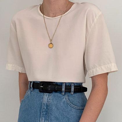Vintage Minimalist Ivory Silk Boxy Shirt