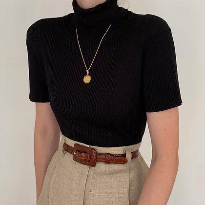 Vintage Noir Silk Ribbed Turtleneck