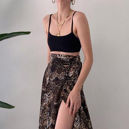 Vintage Leopard Silk Midi Skirt (24-26W)