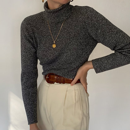 Vintage Pepper Ribbed Knit Turtleneck