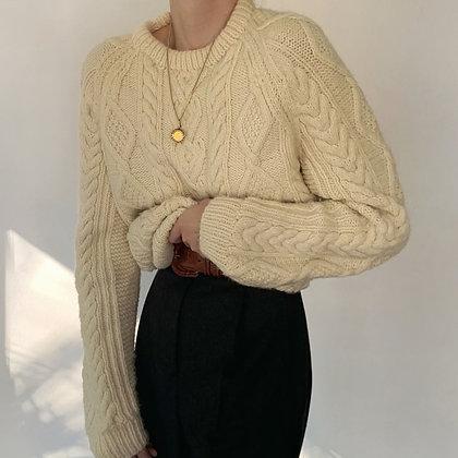 Vintage Buttercream Fisherman's Sweater