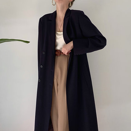 Vintage Midnight Wool Double-Breasted Coat