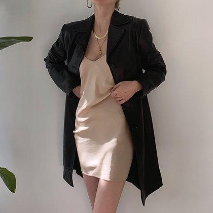 Vintage Noir Leather Trench Coat