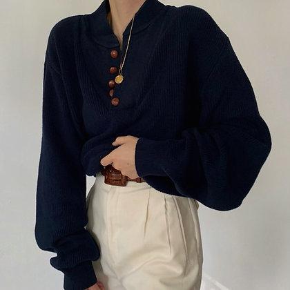 Vintage Midnight Knit Henley Sweater