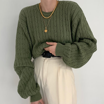 Vintage Izod Avocado Cable Knit Sweater
