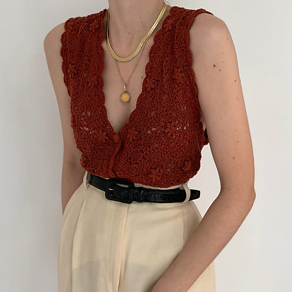 Vintage Amber Crochet Knit Buttoned Top